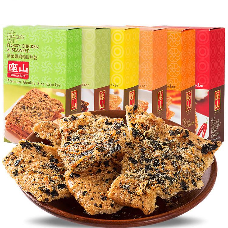 泰国进口 座山牌鸡肉松米饼茉莉香米锅巴90g紫菜饭焦干休闲零食品