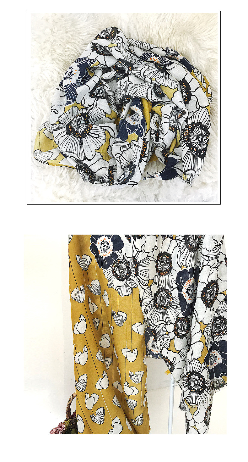 Korean version of cotton and linen hand hot silver flower long shawl scarf NHTZ158430