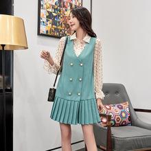 早秋新款女装2019欧货时尚褶皱连衣裙套装女宽松衬衫裙子两件套潮