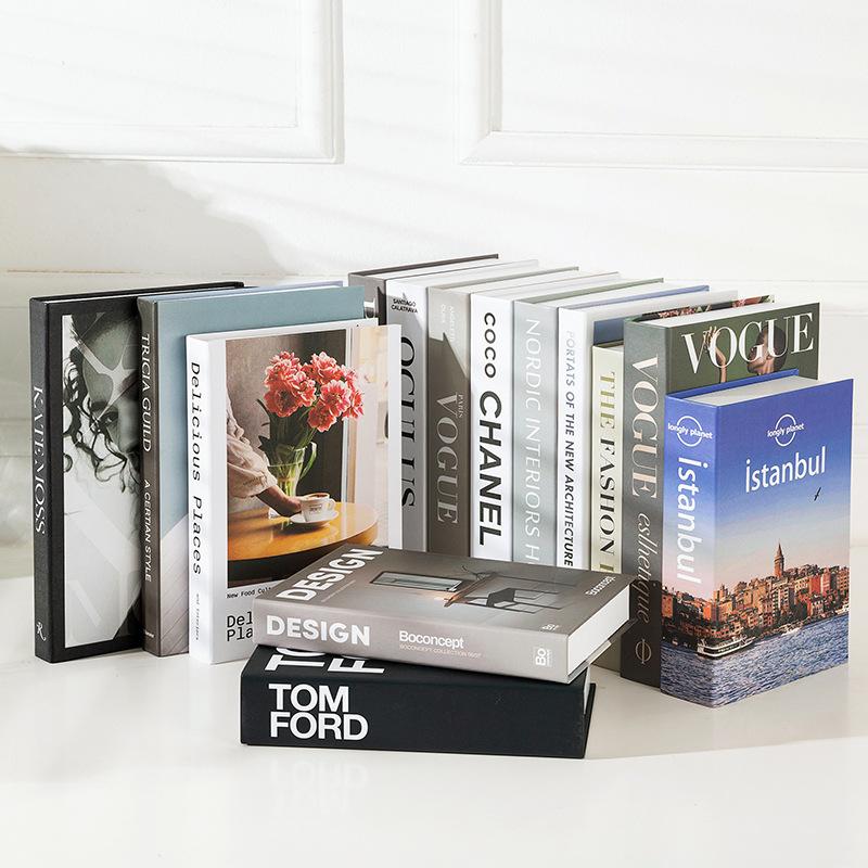 现代北欧假书简约英文仿真书酒店软装饰品摆件道具书模型创意摆设