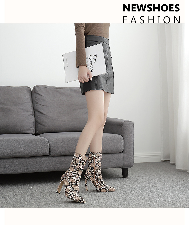Winter snake pattern square heel pointed toe tube oversized banquet high-heeled boots 35-42 NHEH186113