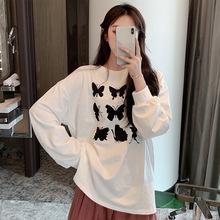 創意蝴蝶印花長袖寬松白色個性T恤女秋季2019新款韓版超火cec上衣