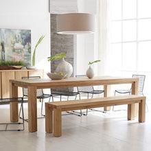 田园乡村全实木家用餐桌用餐房简约饭桌厨房长方形原木桌子定制