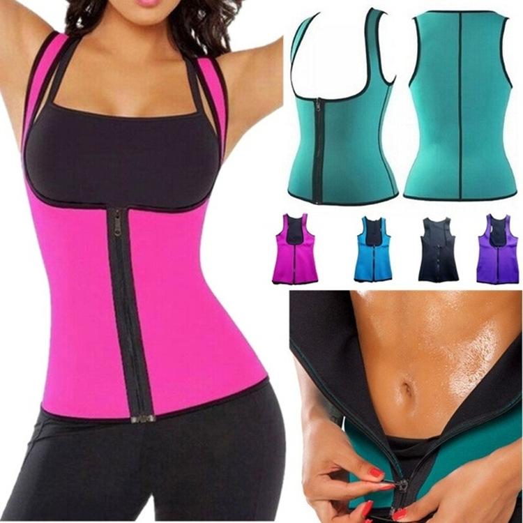 Ladies Sports Corset Zipper Vest Self-heating Fat Burning Wicking Fitness Corset