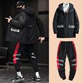 冬季休闲男士棉衣加绒裤子套装韩版青少年保暖潮加厚棉服加绒裤子