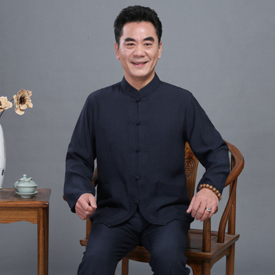 Chinese Tang suit for men suit linen householder clothing cotton hemp national costumes
