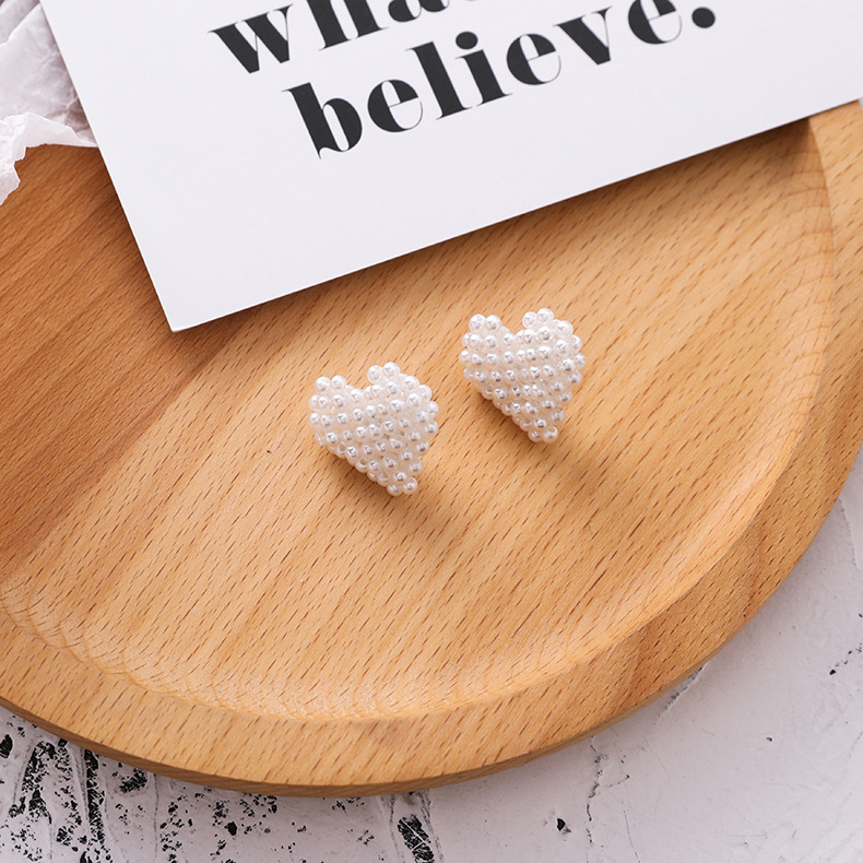 Fashion Pearl Love Chain Necklace Simple Heart Pendant Clavicle Chain Earrings women NHMS181431