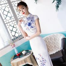 2020新款中式长款改良连衣裙青花瓷丝绸旗袍盘扣立领大码复古双层