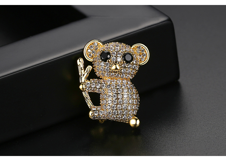 Sloth brooch fashion cute animal female banquet copper inlaid zircon brooch accessories pin NHTM176002