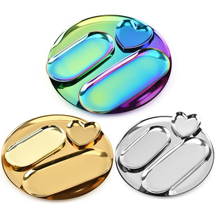 Nordic Stainless Steel Jewelry Plate Golden Stainless Steel Fruit Afternoon Tea Snack Tray Metal Decorative Fruit Placing Plate