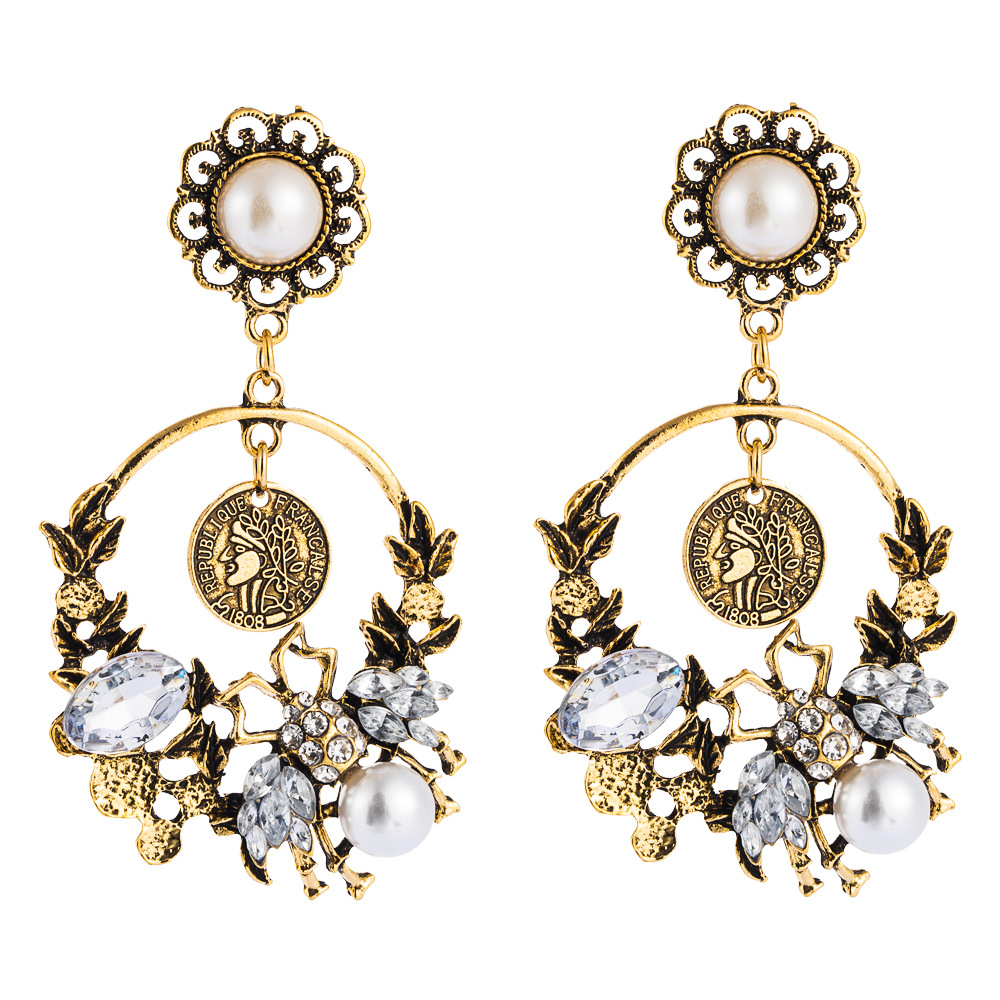 Fashion long tassel earrings alloy beauty head pearl diamond bee accessories flower earrings NHLN199764