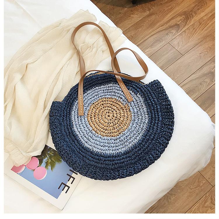 New summer woven bag simple lightweight round shoulder woven bag beach bag wholesale NHGA200623