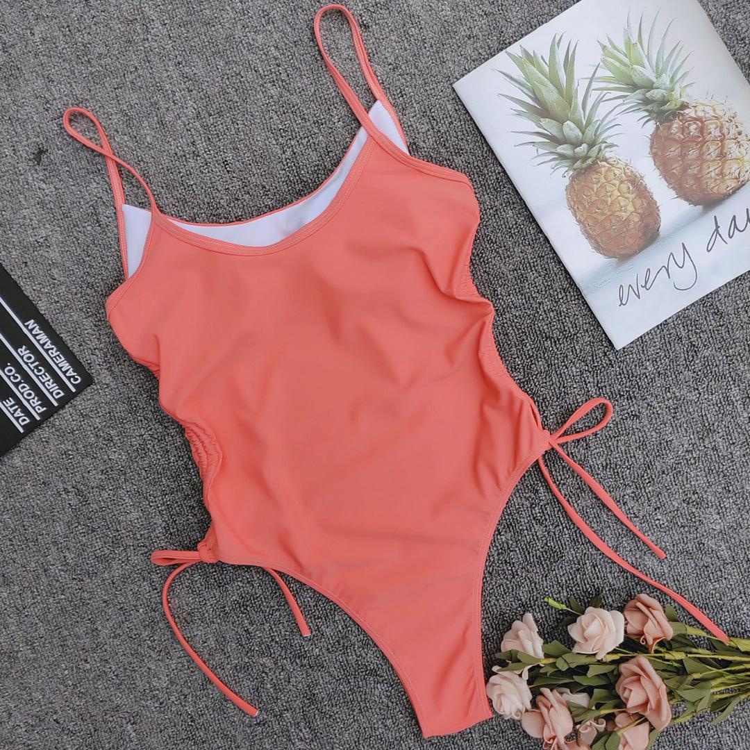 vente chaude couleur unie haute fourche bikini rglable une pice maillot de bain en gros NHZO243823