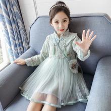7女童秋季长袖连衣裙2019新款洋气10岁小女孩蕾丝刺绣旗袍公主裙9