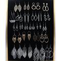 亚马逊爆款叶子耳环创意时尚镂空几何图形合金耳环组合厂家直销