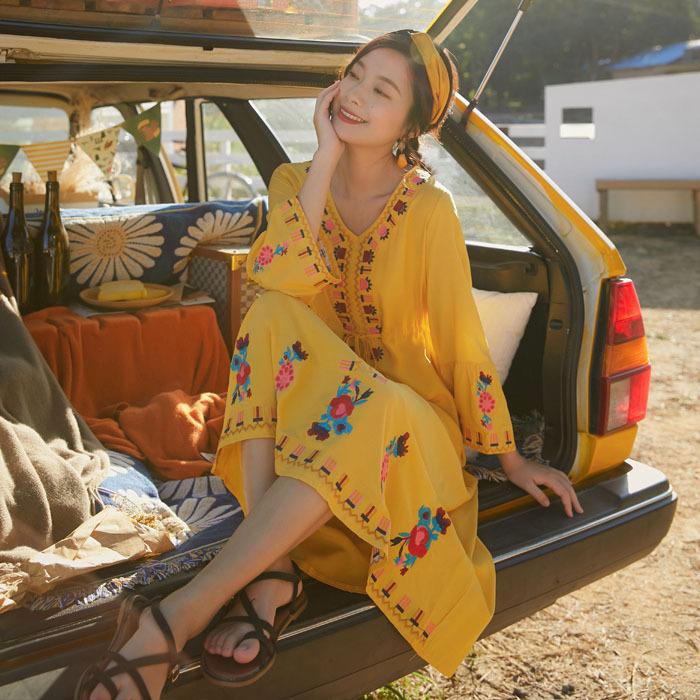 4294实拍视频云南大理旅游长裙闺蜜裙子很仙的民族风度假连衣裙夏