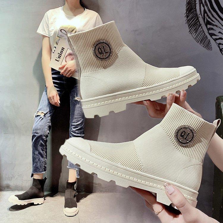 弹力袜子鞋女靴子夏2019新款短靴春秋单靴内增高厚底百搭运动袜靴