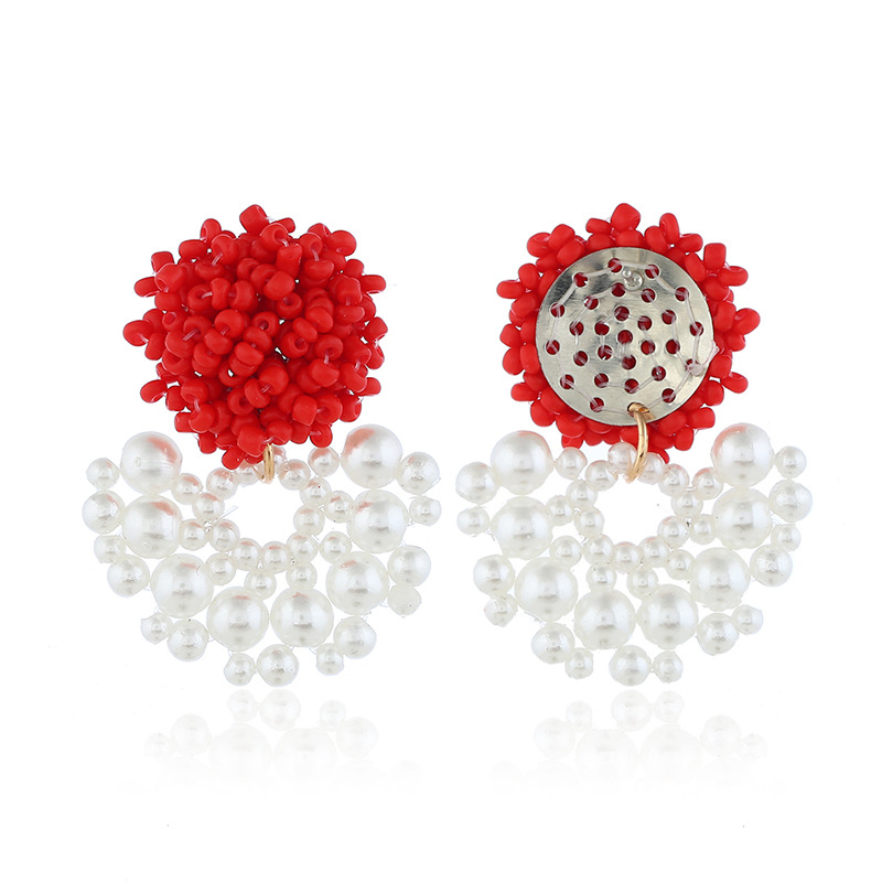 Womens Geometric Plastic Original fan-shaped beads exaggeration   Resin Earrings NHKQ121498