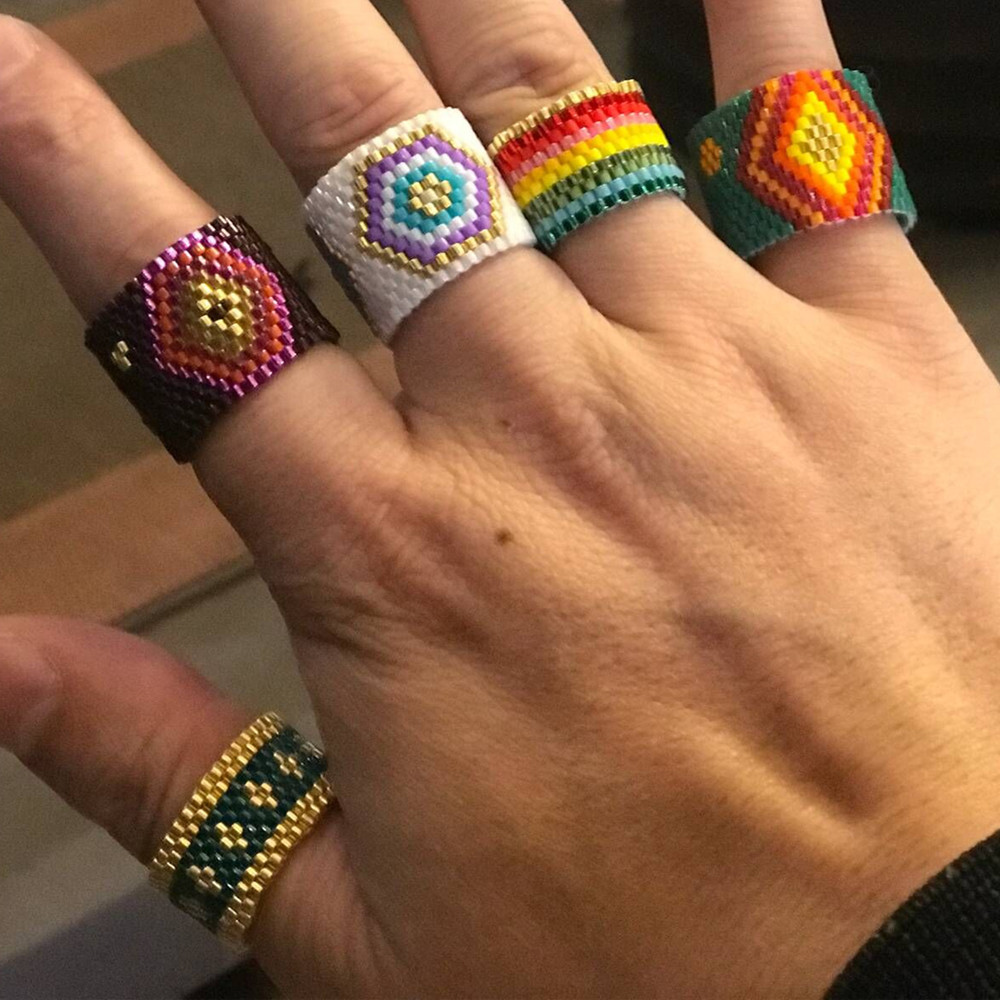 Fashion ring boho ethnic TILA beads hand-knitted jewelry wholesales fashion NHGW201373