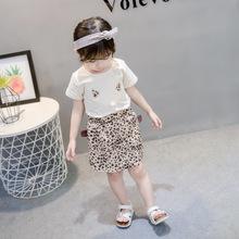 2019女童夏季新款短袖套裝  女寶寶韓版時尚洋氣豹紋貓咪裙褲套裝