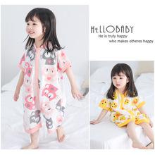 2019兒童卡通睡袋夏季韓版短袖家居服男女寶寶睡衣爬服潮一件代發