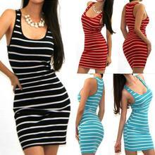 亞馬遜ebay wish歐美女裝打底裙黑白條紋修身無袖工字背心長裙連