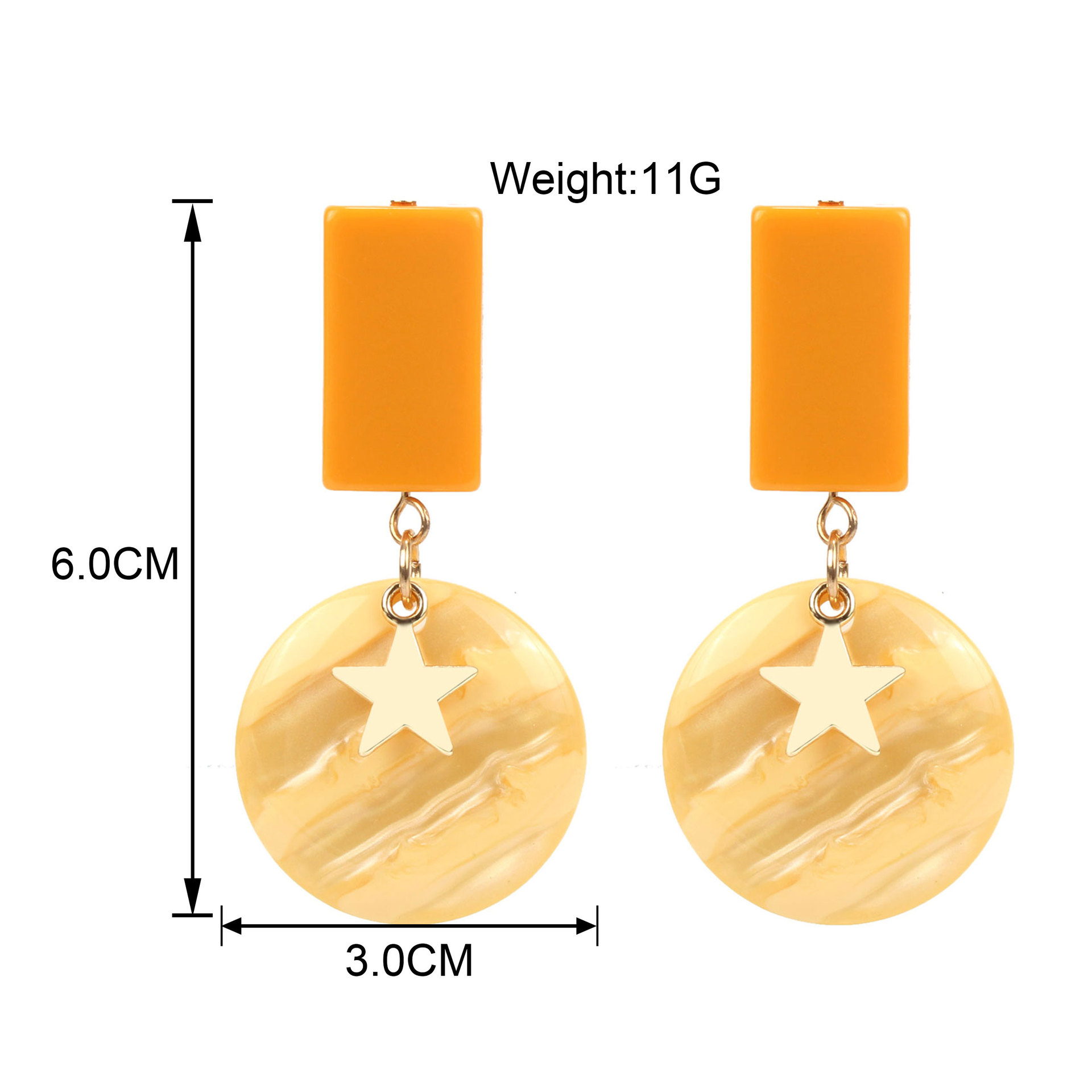 Womens Circle Acrylic Two-Color Series Earrings NHCT123366