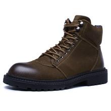 中帮马丁靴加绒毛保暖棉鞋男英伦风复古工装大头皮靴防水特大码靴