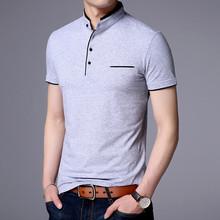 2019新款青年男式纯棉短袖t恤韩版修身立领套头纯色男士棉T恤