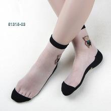 ?#21512;?#22899;士蕾丝袜子  透明凉爽透气女袜卡通黑色纯棉底水晶冰丝短袜