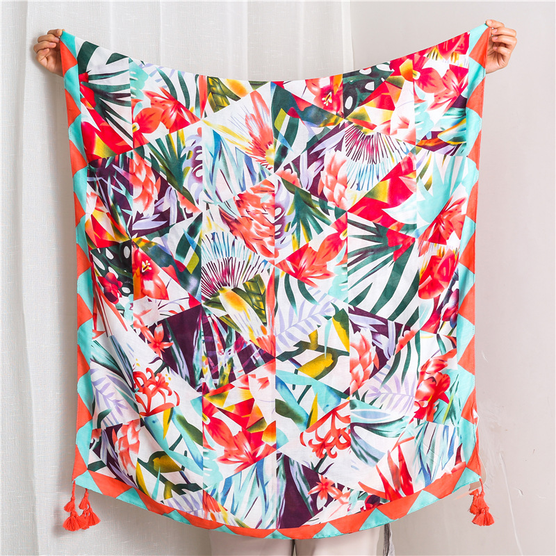 New cotton and linen scarf female color shawl sunscreen silk scarf wholesale NHGD180144