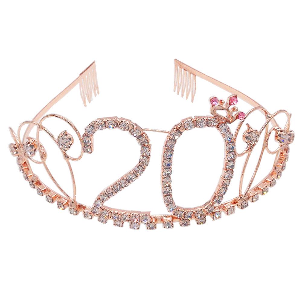 欧美新款周岁生日蛋糕皇冠 金色数字生日帽 水钻发饰新娘宴会头箍