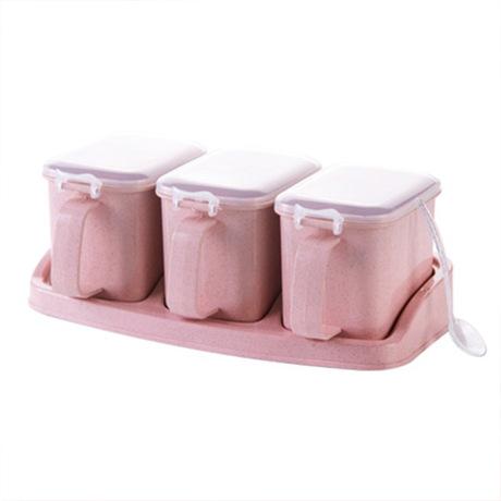Nhà bếp mới cung cấp hộp nêm rơm lúa mì với nhãn tách gia vị độc lập jar nhà bếp ba hương vị và bốn hương vị