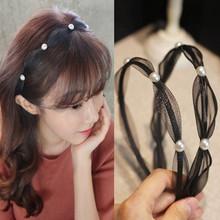 韩国新款蕾丝欧根纱发箍 复古珍珠精致高?#20302;?#31629; 镶钻蝴蝶结发饰女