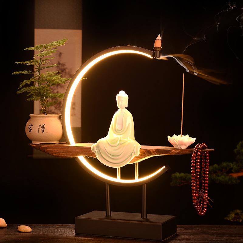 禅意中式紫砂陶瓷人物夜灯倒流香炉客厅桌面室内沉香香薰创意摆件