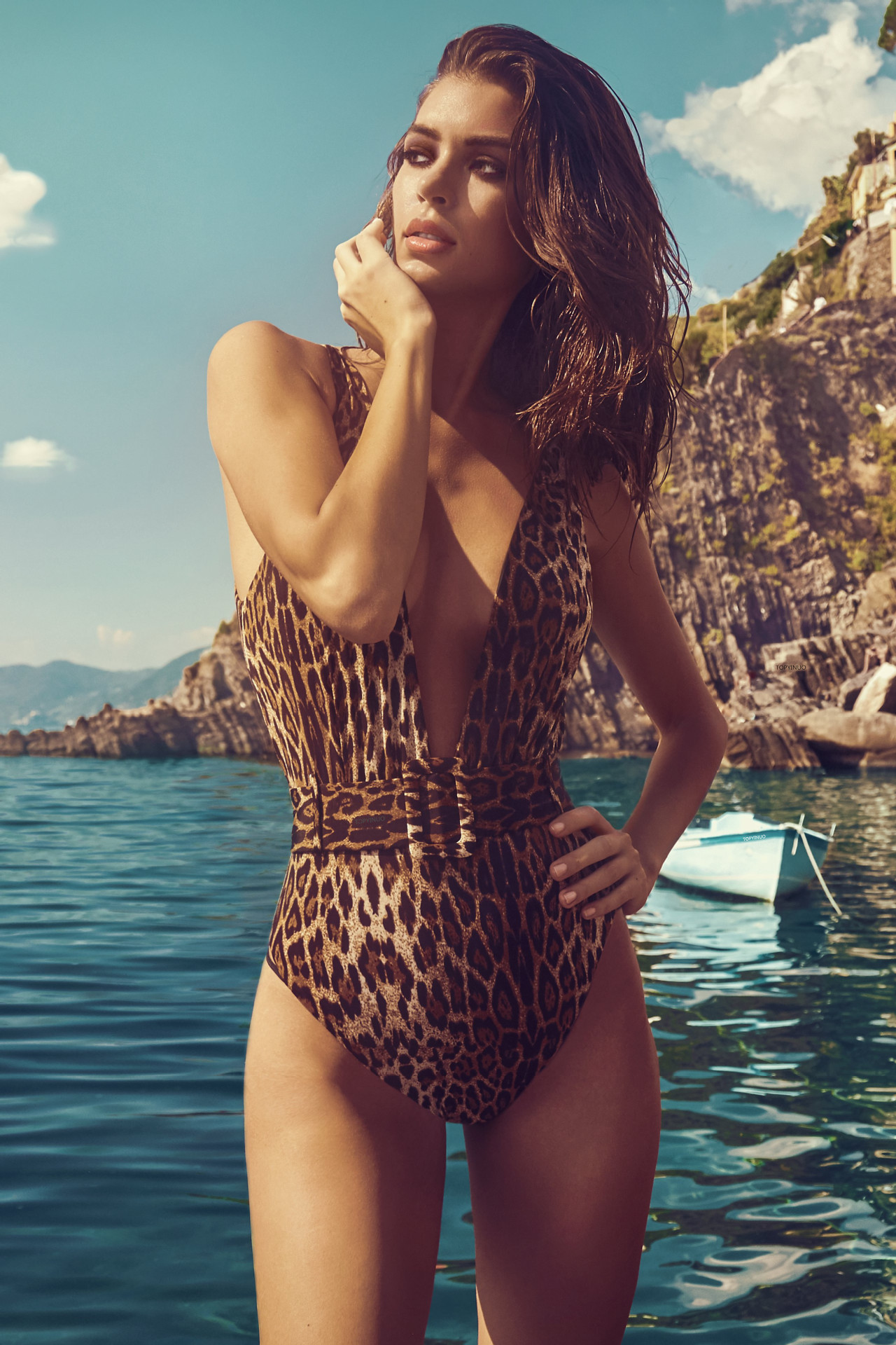One-piece swimsuit leopard belt buckle integrated bikini wholesale NHDA205004