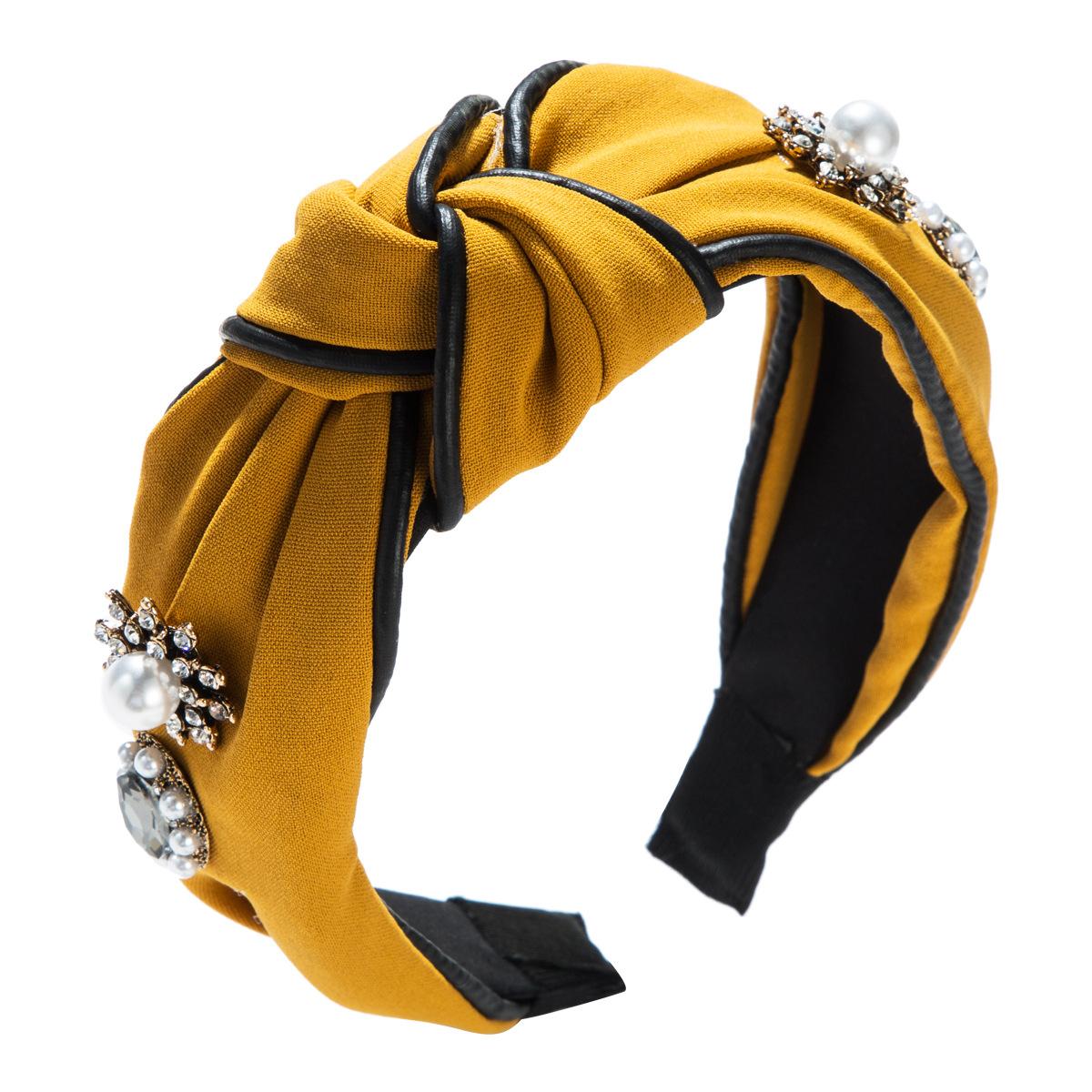 Fashion cloth star rhinestone pearl leather headband NHJE156661