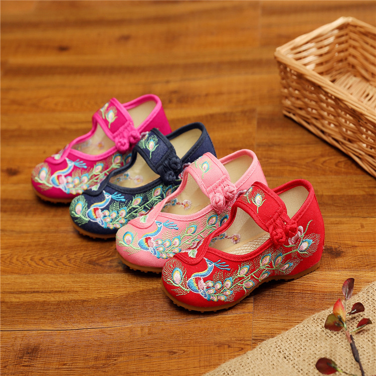 Children shoes girl Chinese folk dance hanfu embroidered shoes national Hanfu shoes peacock ancient shoes dance performance shoes women shoes