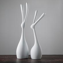 簡約現代客廳玄關隔斷啞光黑白色簡約樹脂工藝品抽象兔子創意擺件