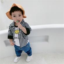 19新款春款韩版童装 男童儿童纯棉长袖格子衬衫宝宝百搭上衣批发