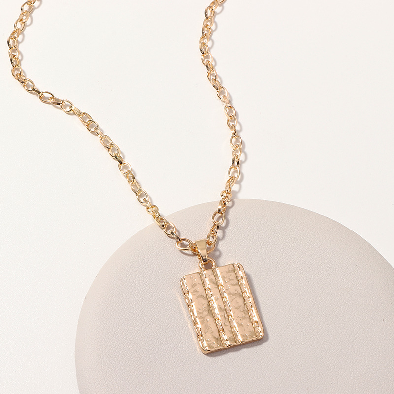 Womens Square Plating Alloy Necklaces NHNZ122113