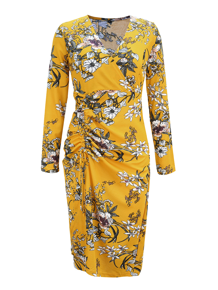 V-neck long-sleeved autumn and winter dress NSAL2061