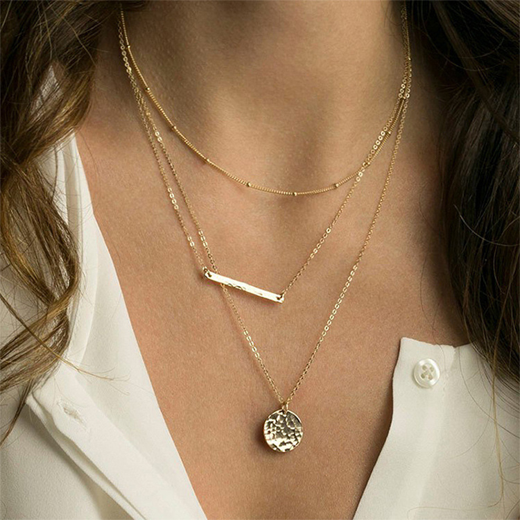 Clavicle chain simple stainless steel necklace female rose gold NHTF175306