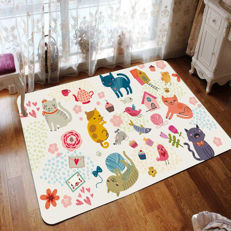 动漫创意儿童大地垫 3D数码印花地毯定制卡通家用门垫 宝宝爬行垫