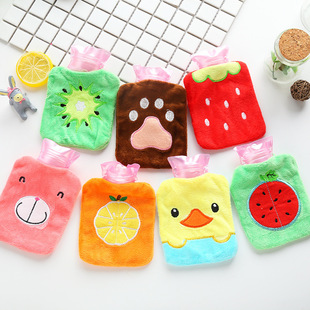 Cartoon mini hot water bottle, plush removable and washable small water-filled hand warmer bag, water-filled hot-water bottle plush hand warmer