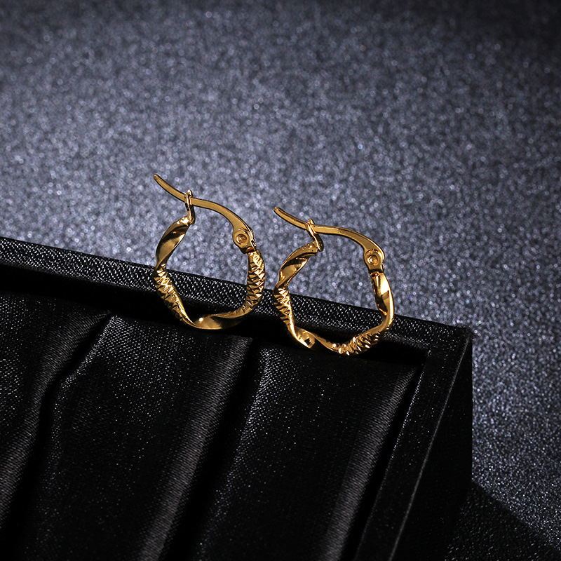 Titanium&Stainless Steel Fashion Geometric earring(Gold 1.5cm)Fine Jewelry NHIM1683-Gold-1.5cm