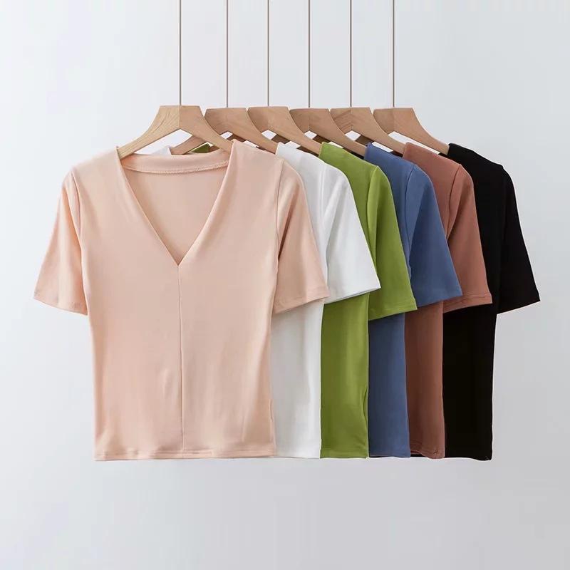 廠家直銷2019夏季歐修身性感V領甜美純色套頭圓領中袖t恤批量代發