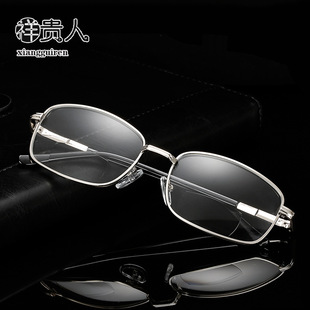 New style double-light presbyopic glasses to see far and near full frame old light metal spring feet for men and women factory wholesale