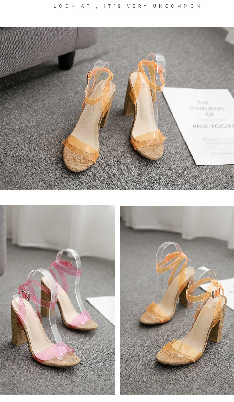 European and American wood grain thick high heel candy color word with sandals NHSO135079