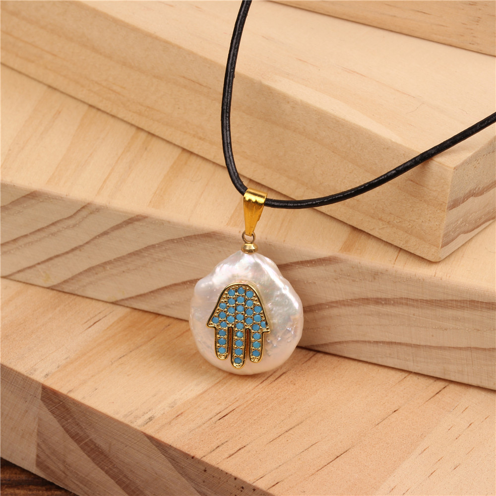 Micro-inlaid blue rhinestone Fatima hand pendant leather rope necklace NHPY134852